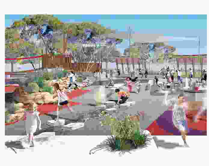 Playford at play: Aspect Studios' plan for Playford Alive's town park includes a garden, skate zone and playspaces.