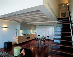 An interior view of a standard double-height apartment.