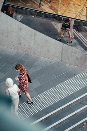 Two women in Melbourne's CBD.