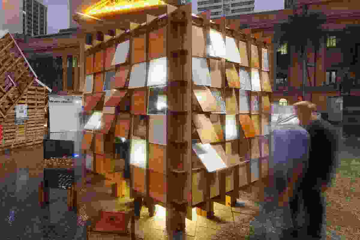 The Emergency Shelter with its skin of solid, translucent and transparent shingles.