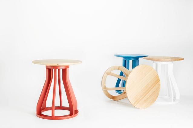 Jon Goulder Spool Stools for Dessein Furniture.