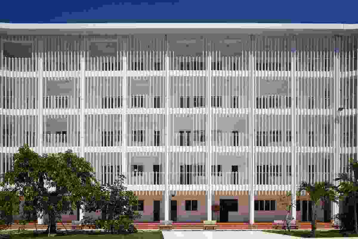 The school is designed to act as a prototype for suburban schools in a tropical climate.