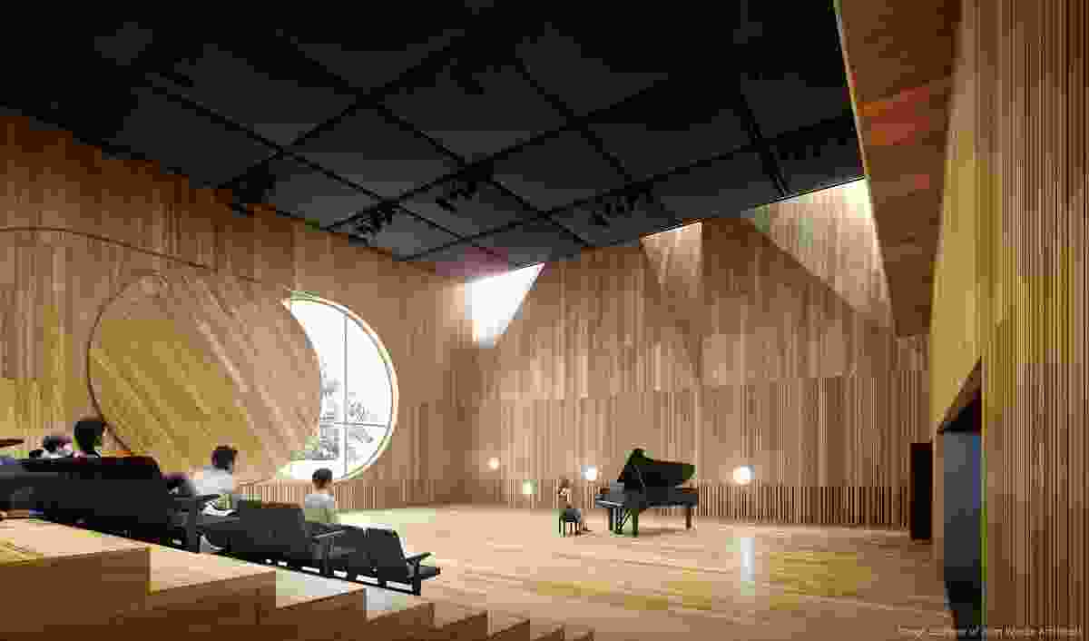 Interior of the ground floor studio in the Melbourne Conservatorium of Music designed by John Wardle Architects.
