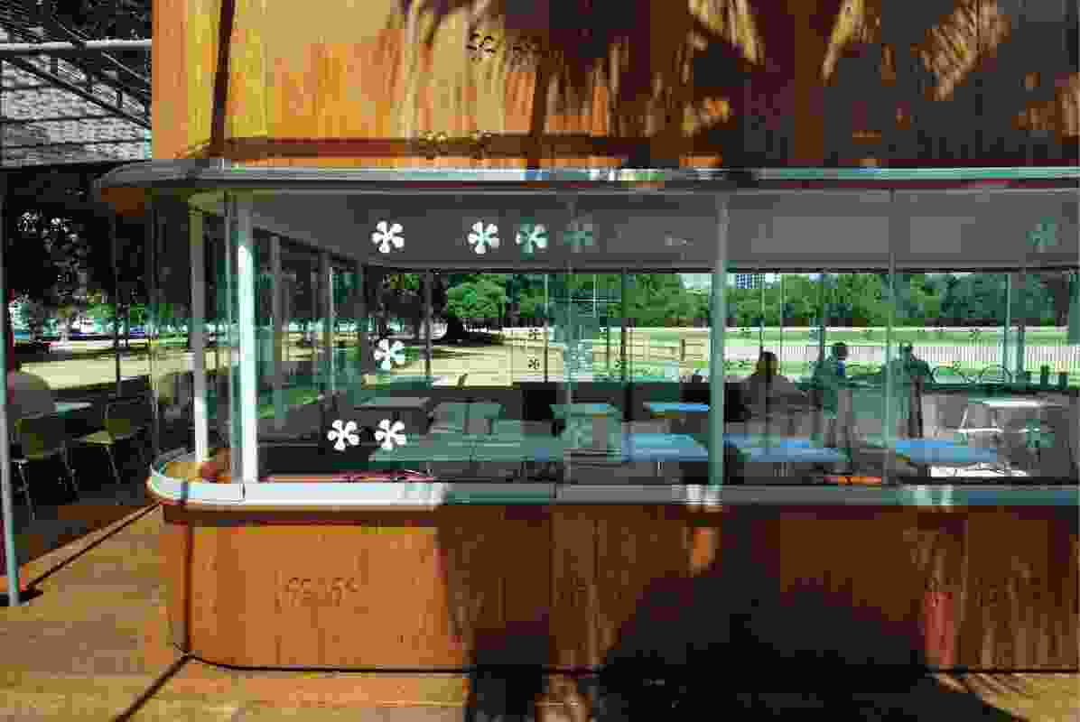 Windows on three sides of the kiosk enable 