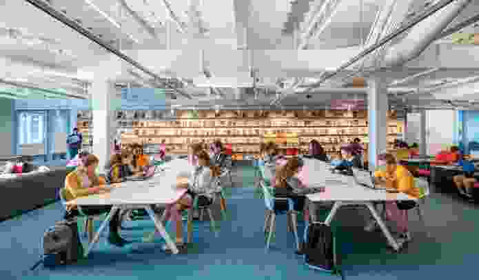 """For the Geffen Academy at UCLA (2018), a new secondary school located on the UCLA campus in California, an """"open library"""" inserted into an existing building provides an armature for independent learning."""