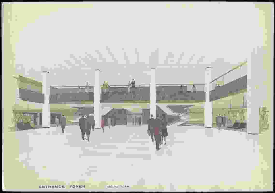 Design drawing of the foyer, National Library of Australia (c. 1965).
