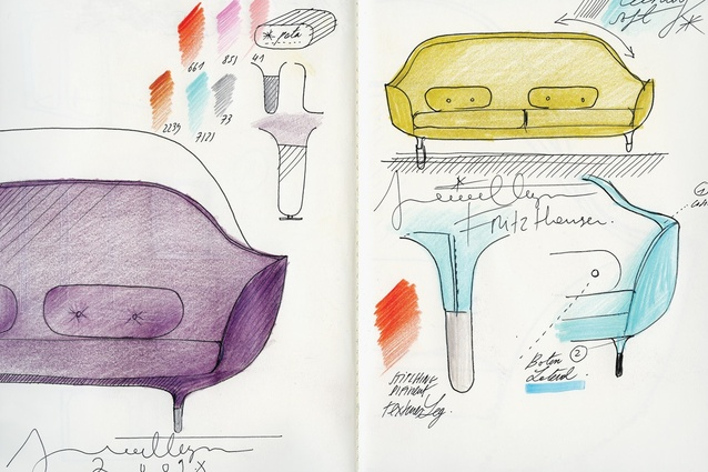 Working sketches of the Favn sofa for Fritz Hansen.