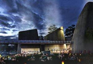 A proposed World Heritage Interpretation Centre in the masterplan for Jabiru by NAAU and Enlocus.