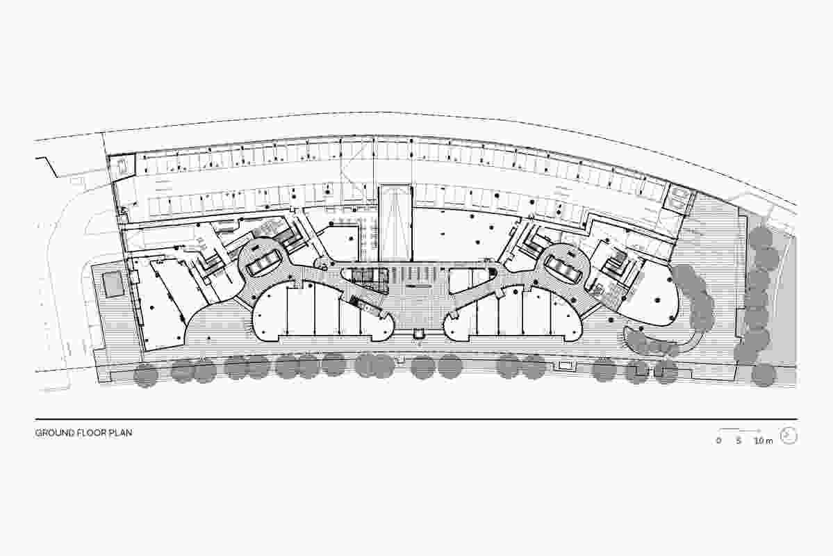 Ground floor plan of Australia Towers by Bates Smart.