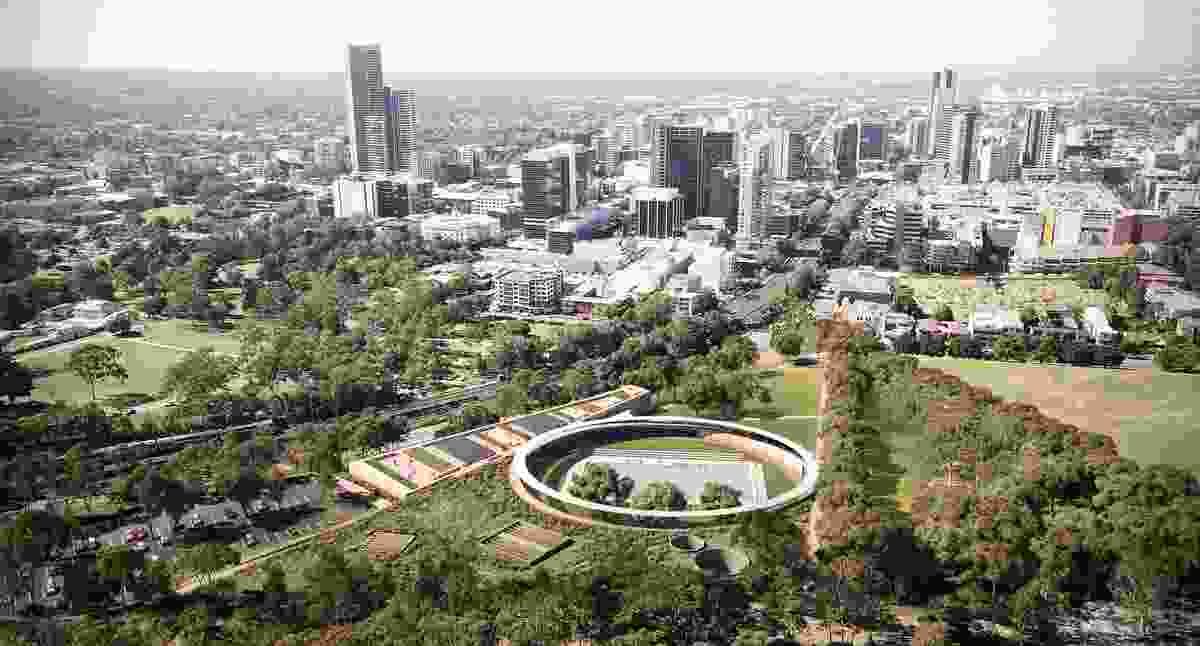 The winning design for Parramatta Aquatic Centre by Grimshaw, Andrew Burges Architects and McGregor Coxall.