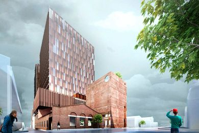 The Northumberland office tower development designed by John Wardle Architects is proposed around and above the existing Collingwood Telephone Exchange building.