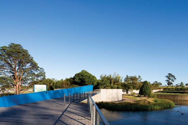 The striking blue entrance bridge was inspired by a fallen log.