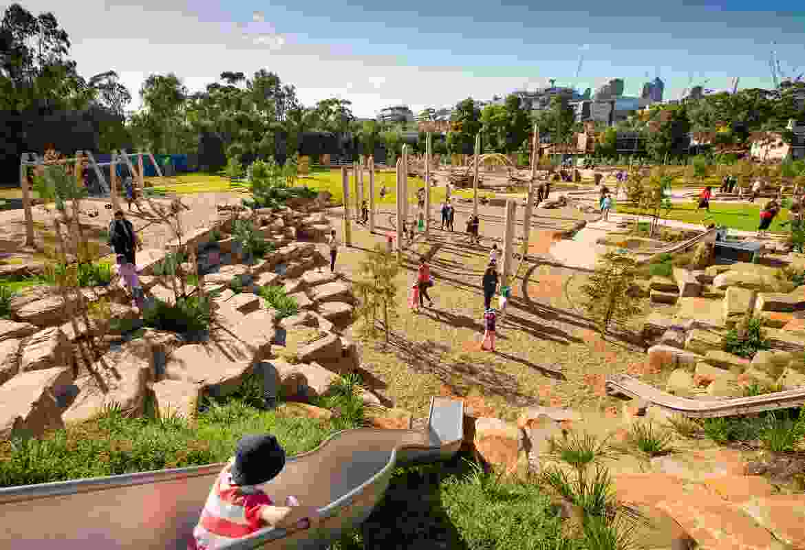The City of Melbourne consulted 150 children on the design of the new playspace. Nature-based play was identified early as something that the community wanted.