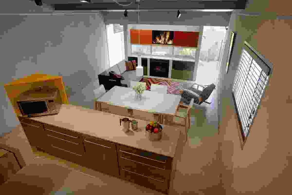 Kitchen/living space viewed from the sleeping loft.