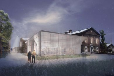 A proposed public pavilion for the Pentridge Prison redevleopment precinct by Ola Studio.