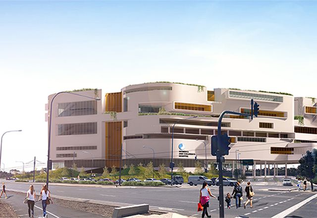 Indicative render of the proposed Women's and Children's Hospital in Adelaide. Not a true reflection of the final design.