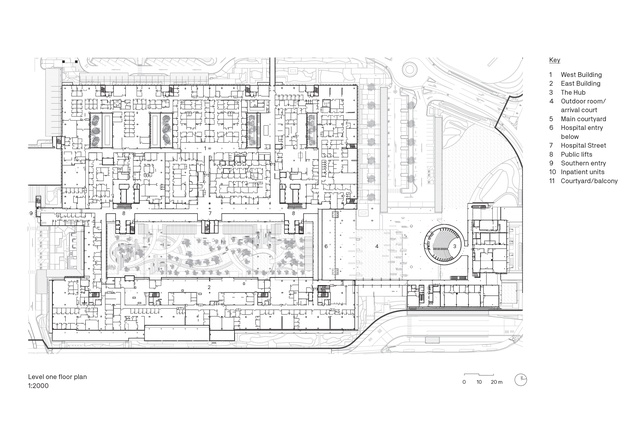 Level one floor plan of Sunshine Coast University Hospital by Architectus and HDR.