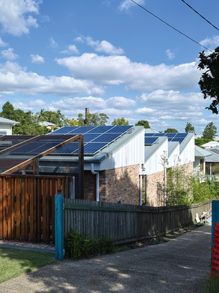 The roofs tilt towards the northern sun, each one fitted with solar cells.