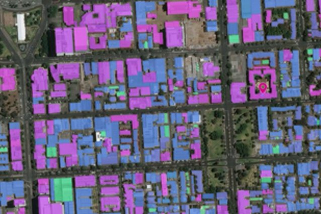 Mapping of building and roof materials in an Australian suburb, using GeoVision tools by Pitney Bowes derived from PSMA's Geoscape data system, with imagery from shortwave infrared and multispectral sensors aboard DigitalGlobe's WorldView 3 satellite.