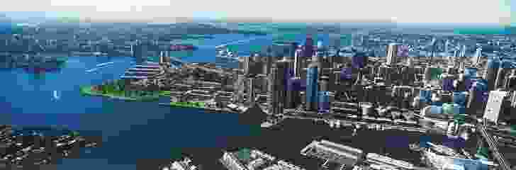 Overview of the preferred scheme for Barangaroo South, by Lend Lease with the design team led by Rogers Stirk Harbour + Partners.