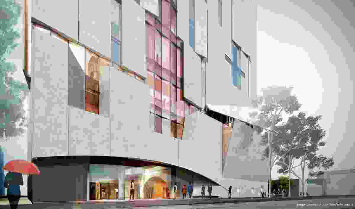 The facade of the Melbourne Conservatorium of Music designed by John Wardle Architects will lift, tilt and hinge open to allow the public glimpses into the building's interior.