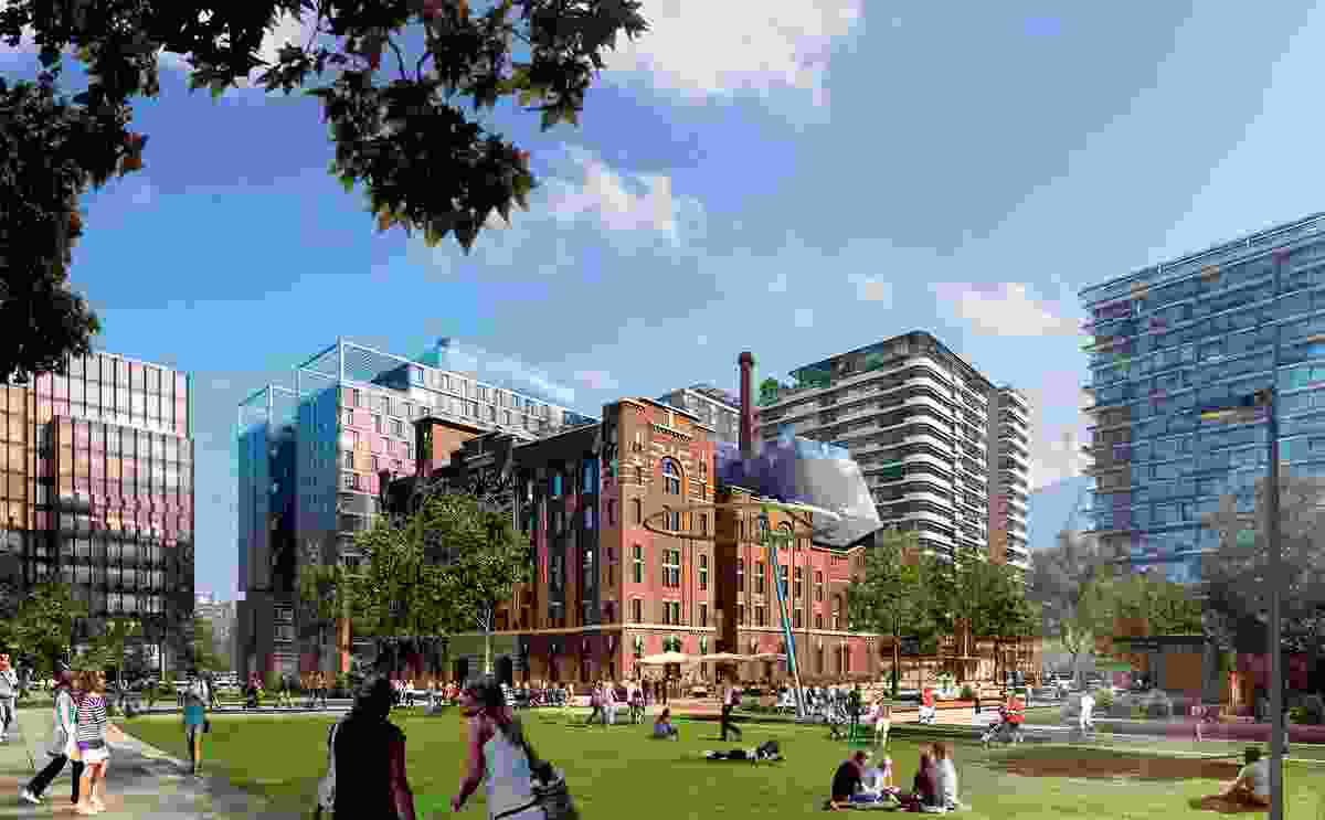 The residential levels of the Foster and Partners-designed development will have view of the brewery yard park in the Central Park.