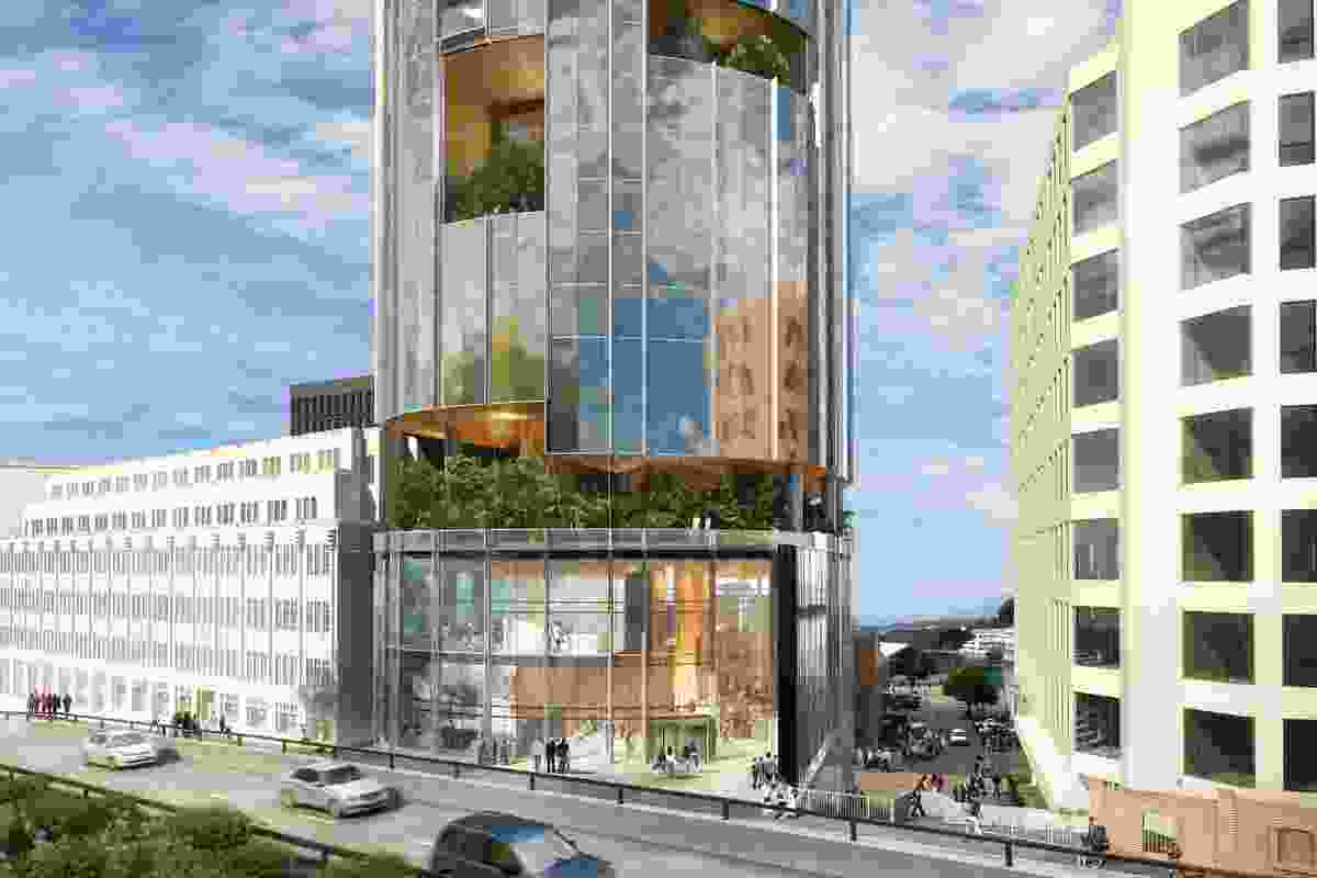 "The updated design for the proposed hotel by Xsquared Architects. The ""sky gardens"" present in the original design have been concentrated on the Franklin Square-facing side."