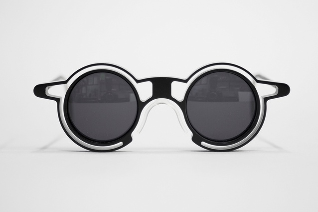 Andrew Southwood-Jones and Alexander Kashin, <em>Pince-nez</em> (2013), CNC-milled and anodized, aircraft-grade aluminium, and polarized lenses.