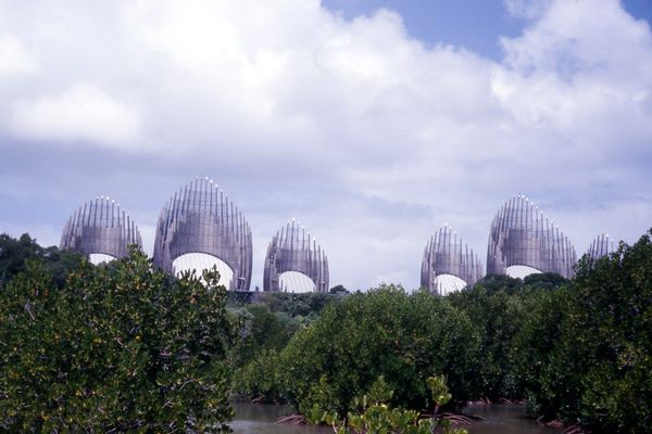 The Jean-Marie Tjibaou Cultural Centre in New Caledonia by Renzo Piano Building Workshop (1998).