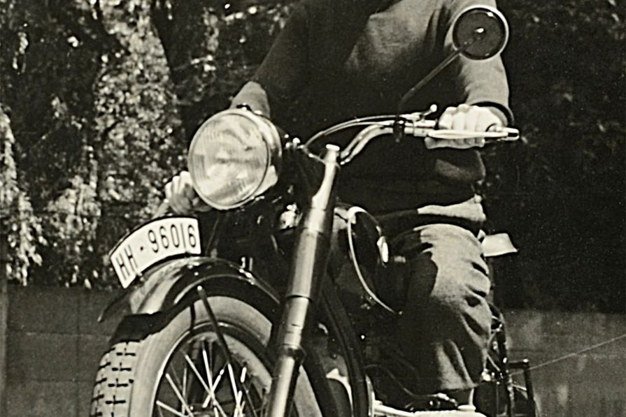 Frederick Romberg (1937) on his motorbike (BMW) which was transported to Melbourne in 1938.