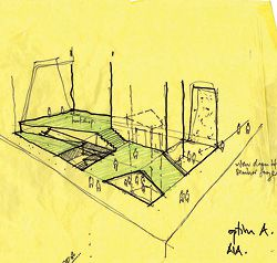 """Sketch of the """"inside-out"""" foyer, which combines the Institute """"front door"""" and commercial entry."""