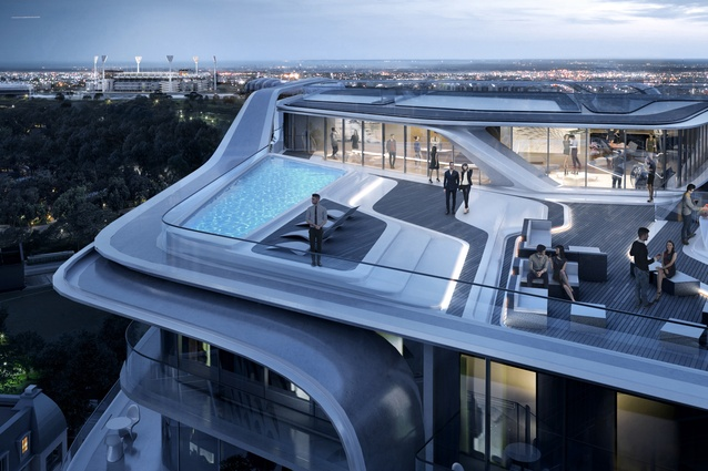 The Mayfair apartment tower designed by Zaha Hadid Architects includes a communal rooftop space.