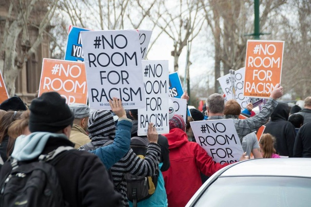 Anti-racism protesters march against anti-Islamic protesters during public demonstrations against the granting of a planning permit for a mosque in Bendigo, Victoria, in 2015.