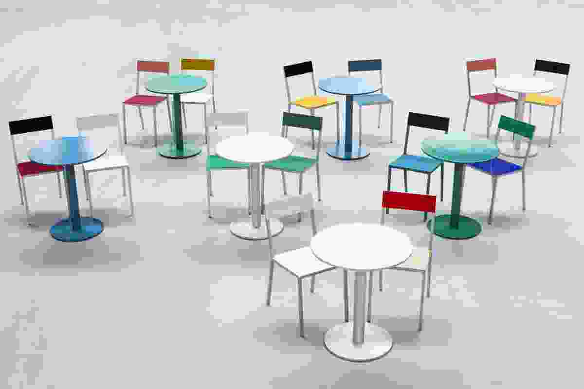 Alu table and chairs by Muller Van Severen for Valerie Objects.