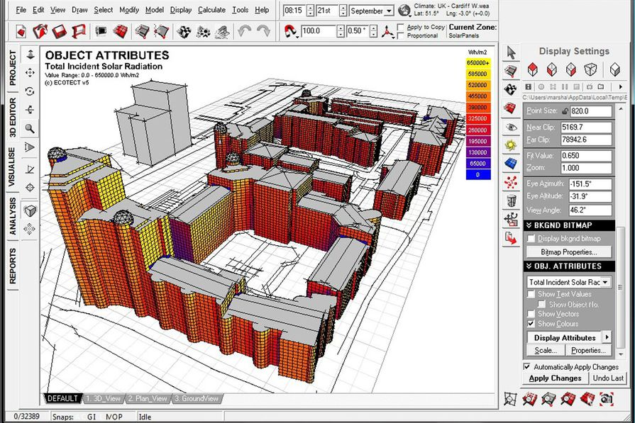 A screen shot from Autodesk Ecotect Analysis.