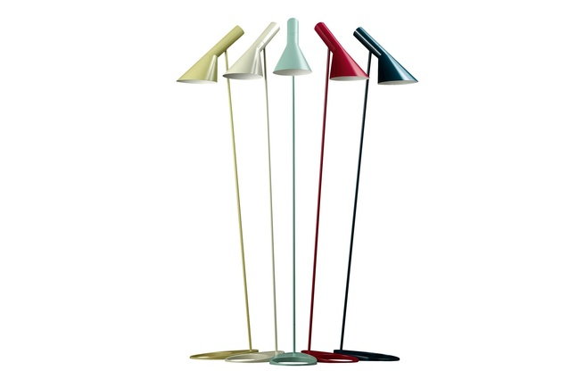 AJ Floor lamps by Arne Jacobsen, revised with colour for their 50th anniversary.