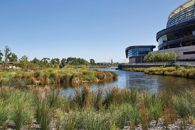 An aim of the design was to rehabilitate the site (a former landfill) and address erosion issues along the river's edge.