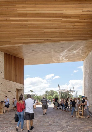 The Maitland Riverlink Building designed by CHROFI is constructed from handmade bricks and timber.