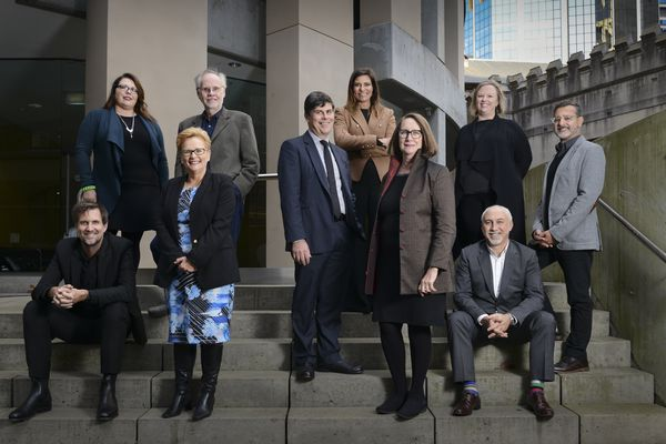 The NSW Architects Registration Board. L-R: Prof Gerard Reinmuth, Melonie Bayl-smith, Sue Weatherley, Nigel Bell, Peter Poulet, Milly Brigden, Dr Deborah Dearing, Sarah Marshall, Shaun Carter, Peter Salhani (Absent: Matt Curll)