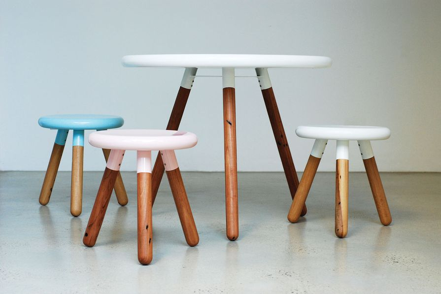 The Spun range of steel and timber dining tables and stools by LifeSpace Journey.