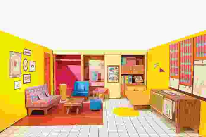 Barbie's Dream House (interior) c. 1962. Offset lithography on cardboard. Collection: Mattel, Inc. © Mattel, Inc.