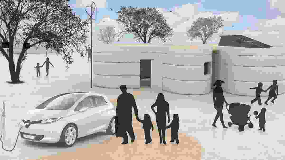 An impression of how the Perth house might look after being created using the D-Shape 3D printing technology.