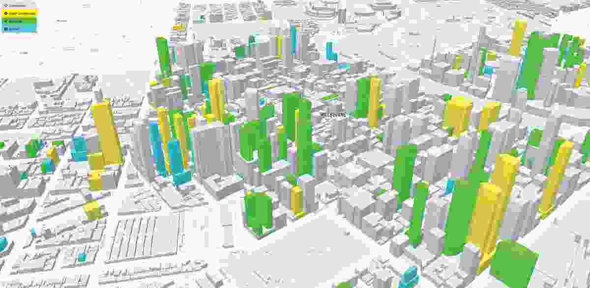A 3D model of Melbourne's highrise towers, showing built (grey), under construction (yellow), approved (green) and applied (blue).