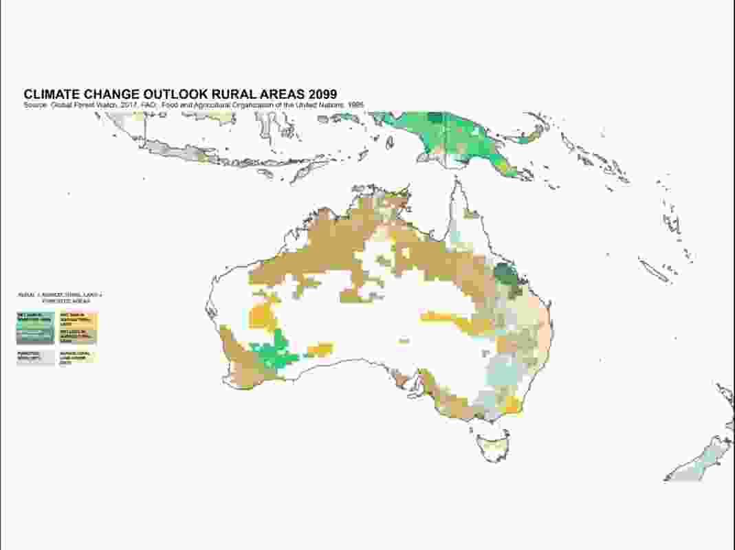 "Climate change outlook rural areas 2099. According to David Gianotten, ""Large parts of your country are not so much affected by climate change and actually some are becoming better accessible than they were before."" However, the map shows vast areas, particularly in northern Australia, which would suffer a net loss in agricultural land as well as forested areas."