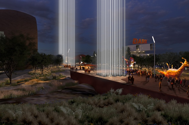 MONA's vision for the redevelopment of Macquarie Point, designed by Fender Katsalidis and Rush Wright, includes nine major fire and light installations, representing each of state's first nations.