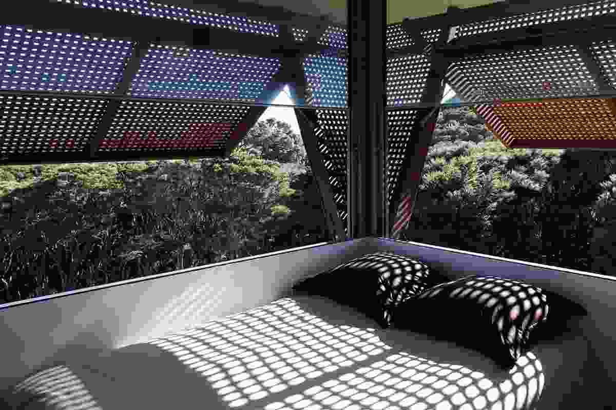 Waiheke Island House interior, 2007. The upper floor is divided into diminutive guest rooms, where latticed shutters give shade from the western sun.