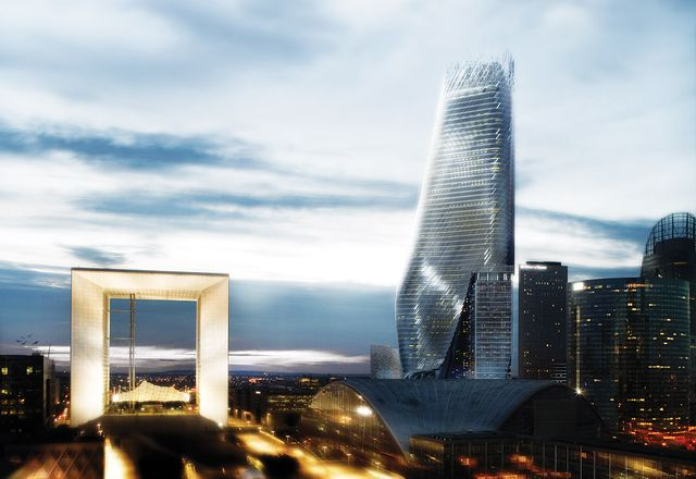 "Rendering of the Phare Tower in the ""non-site"" of Paris's La Défense."