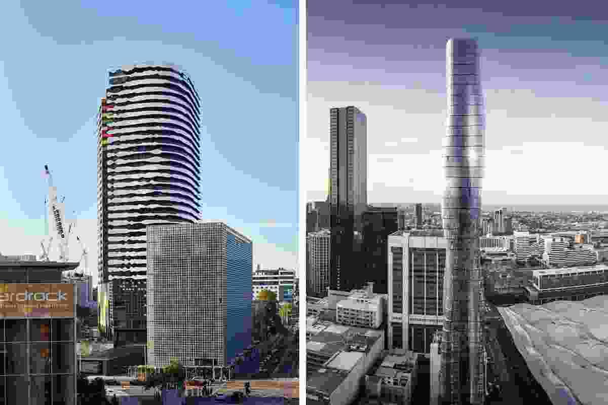 Left: ARM Architecture's Portrait building;  right: Elenberg Fraser's Premier Tower