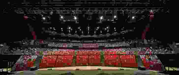The ICC Sydney Theatre is fan-shaped in plan, its 8,000 red and grey towering seats enhancing the drama of hosted events.