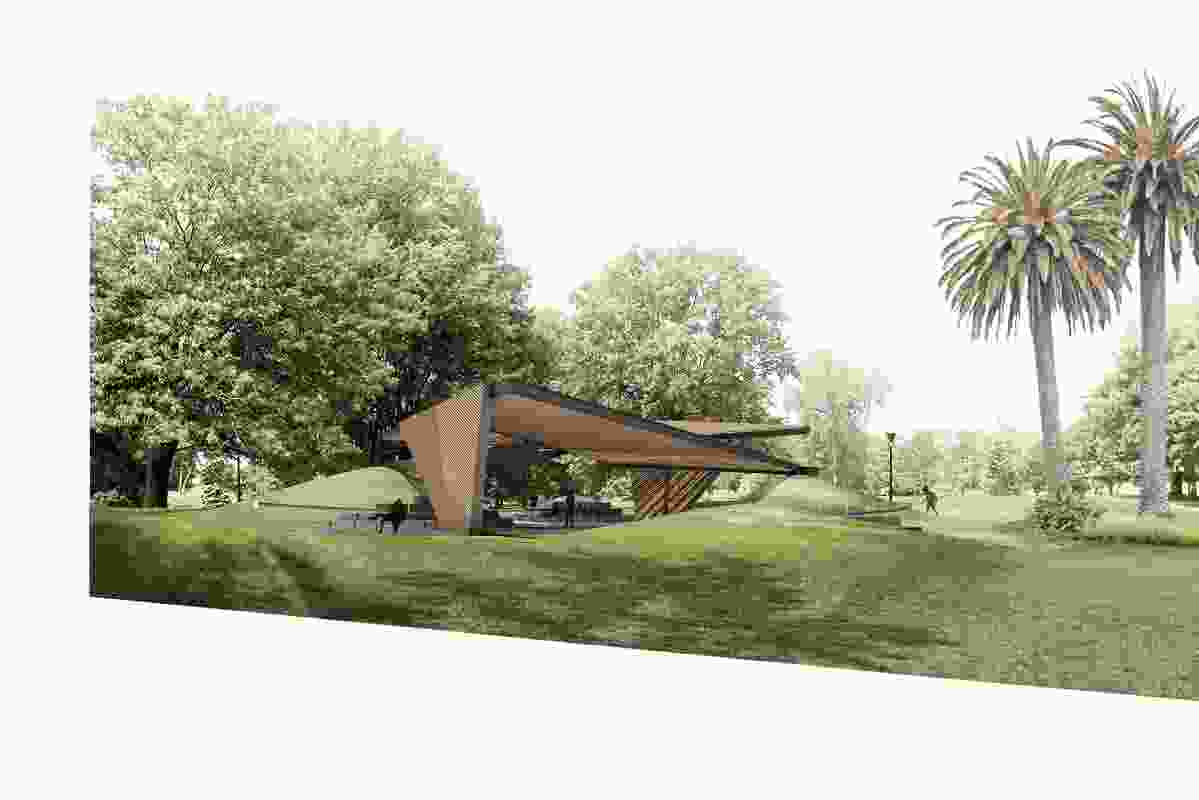 The design of the 2018 MPavilion by Estudio Carme Pinós includes two origami-like folding planes.